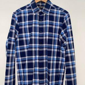 Navy Striped Modern Fit Dress Shirt